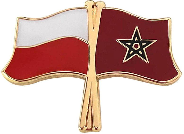 Flaga Polska - Maroko, przypinka