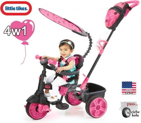Little Tikes - Trójkołowy rowerek 4w1 Neon Pink Deluxe 634321