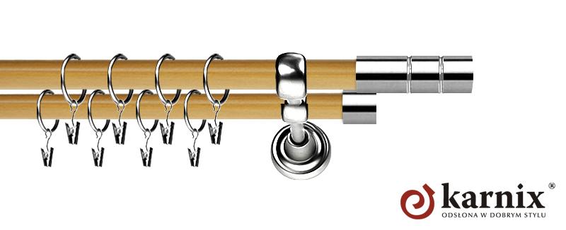 Karnisz Metalowy Prestige podwójny 19/19mm Cylinder INOX - pinia