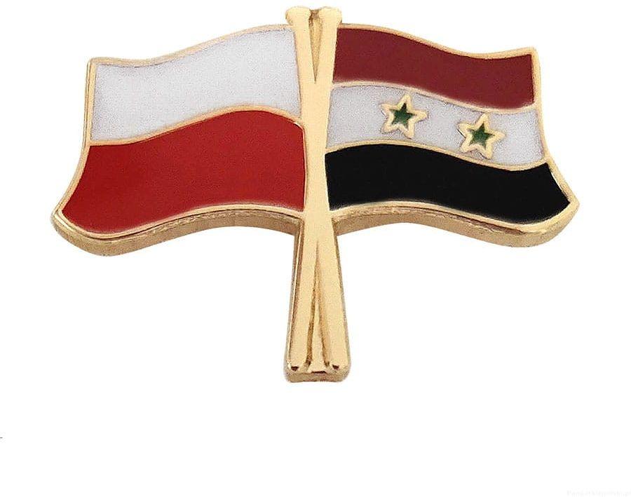 Flaga Polska - Syria, przypinka