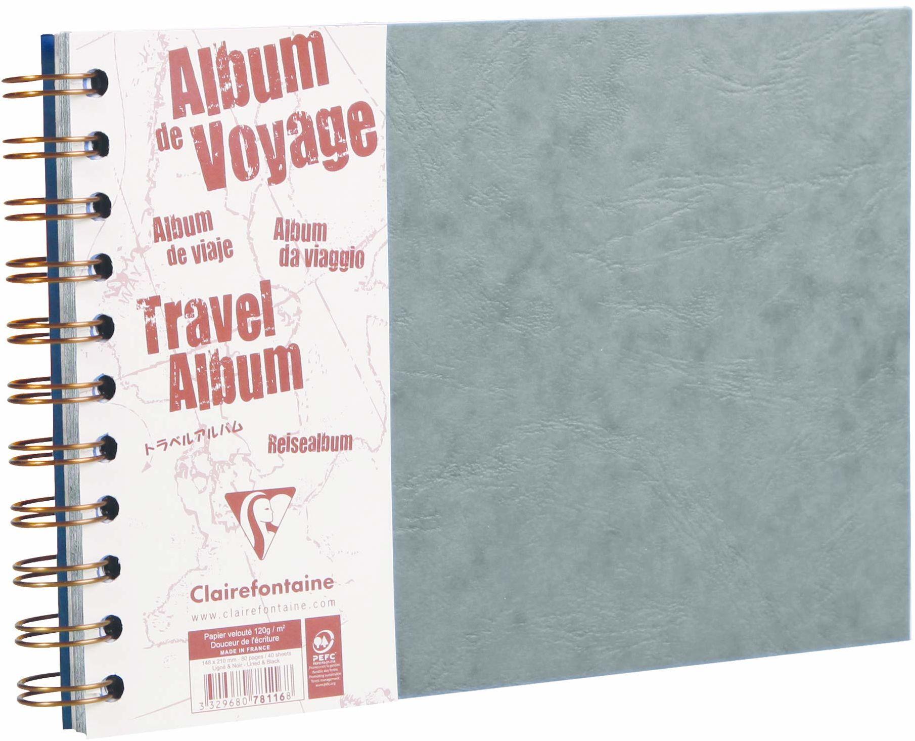 Clairefontaine ''Age Bag'' album podróżny, A5, w podszewce, 80 stron - szary