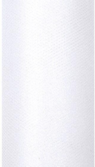 Tiul dekoracyjny biały 15cm x 9m 1 rolka brokat TIUG15-008