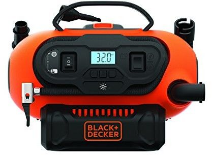 kompresor samochodowy / pompka, zasilany z akumulatora 18V, sieci 230V, z gniazda zapalniczki samochodowej 12V, Black+Decker [BDCINF18N]