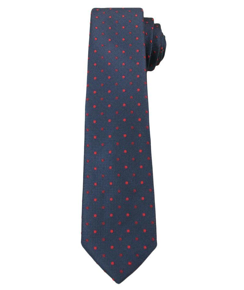 Granatowy Elegancki Krawat Męski -ALTIES- 6 cm, w Czerwone Kropki KRALTS0268