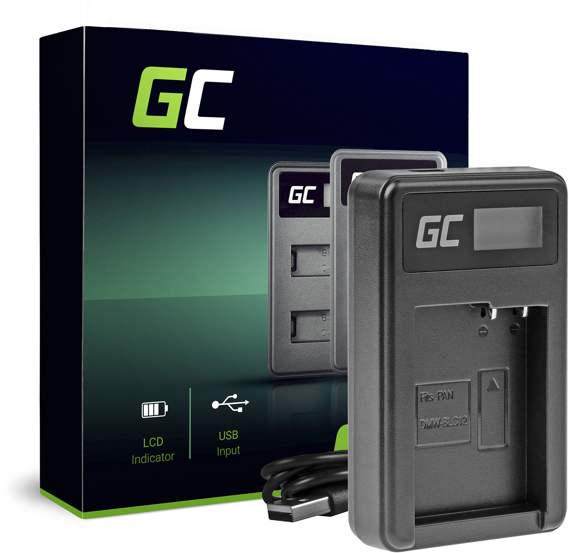 Ładowarka DE-A79B Green Cell  do Panasonic DMW-BLC12, Lumix G7 G5 G81 G6M G70M GX8EG-K GX8 G70 G85 FZ1000 FZ300 FZ2000 FZ200