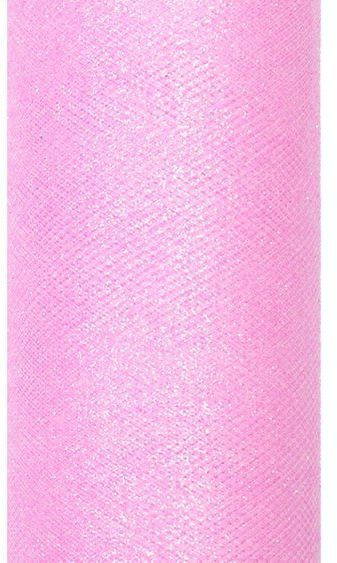 Tiul dekoracyjny różowy 15cm x 9m 1 rolka brokat TIUG15-081