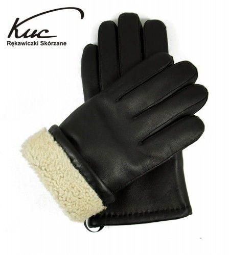 Rękawiczki skórzane ocieplane naturalnym futrem - super ciepłe
