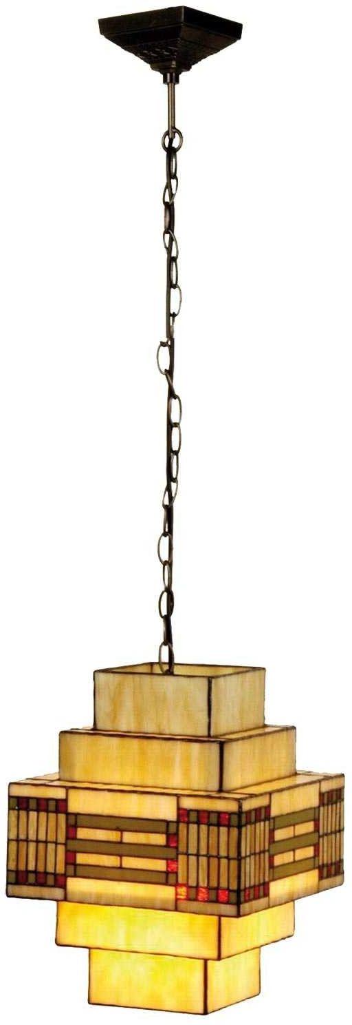 Lumilamp 5LL-5514 lampa wisząca Art Deco Tiffany styl wielokolorowa 30*30*144 cm 1x E27 max 60 W ręcznie wykonany szklany klosz