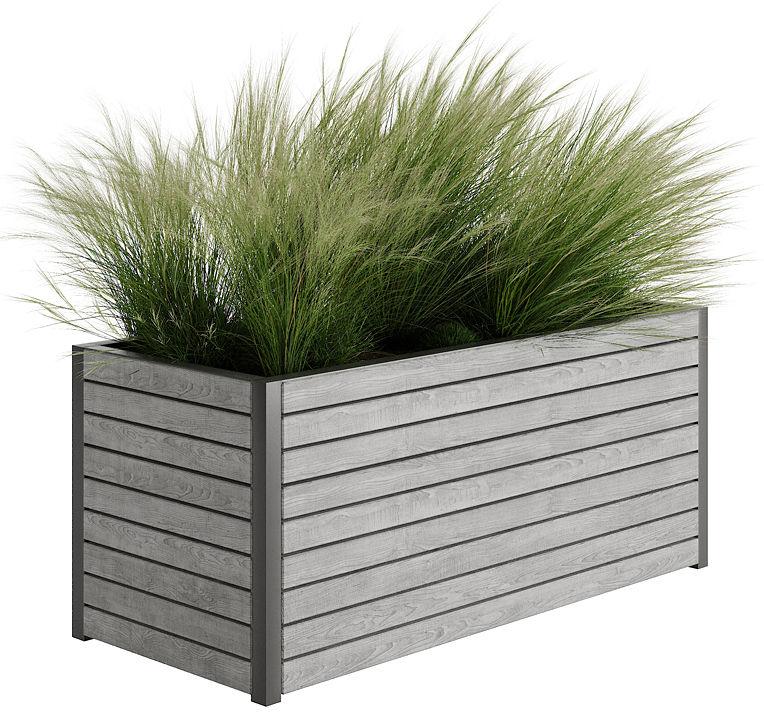 Szara drewniana skrzynka ogrodowa Zeris - 24 kolory