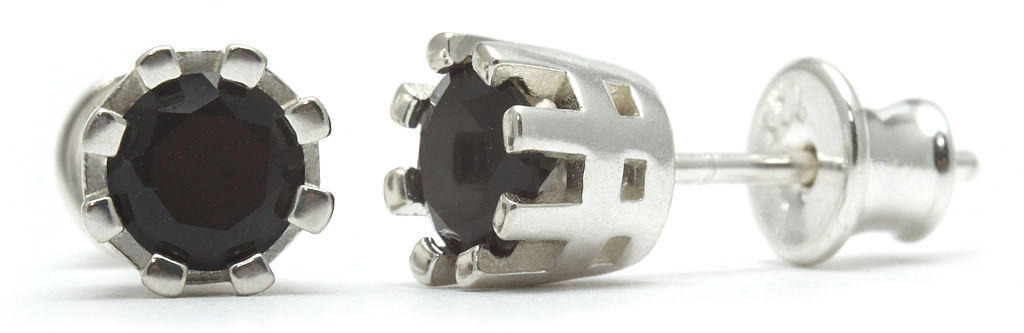 Kuźnia Srebra - Kolczyki srebrne sztyft, 15mm, Czarny Onyks, 2g, model