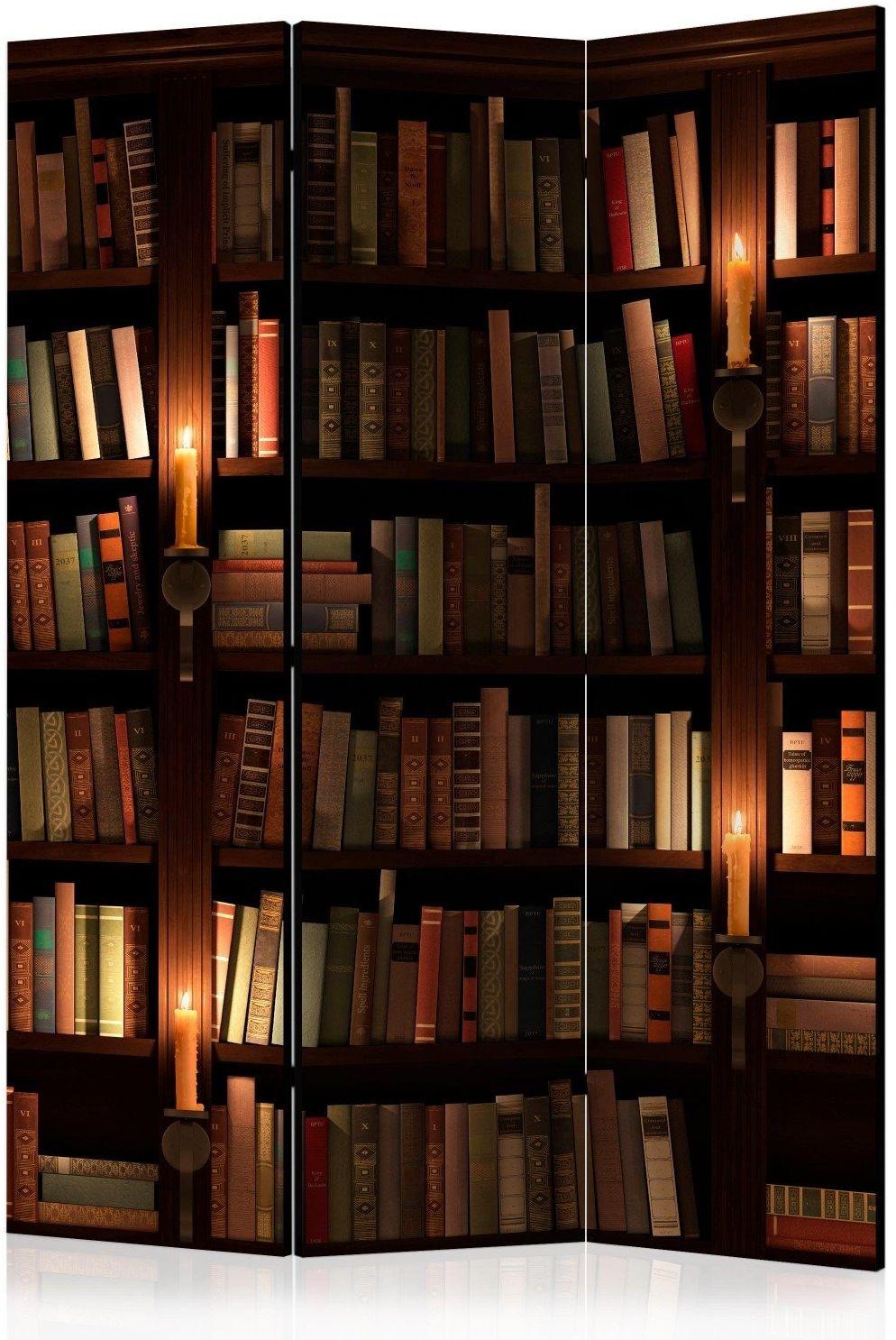 Parawan 3-częściowy - półki z książkami [room dividers]