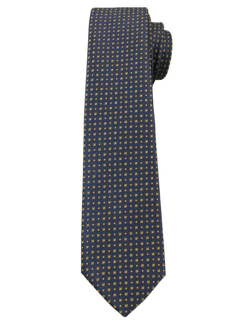 Granatowy Elegancki Krawat Męski -ALTIES- 6 cm, w Żółte Kwadraciki KRALTS0267
