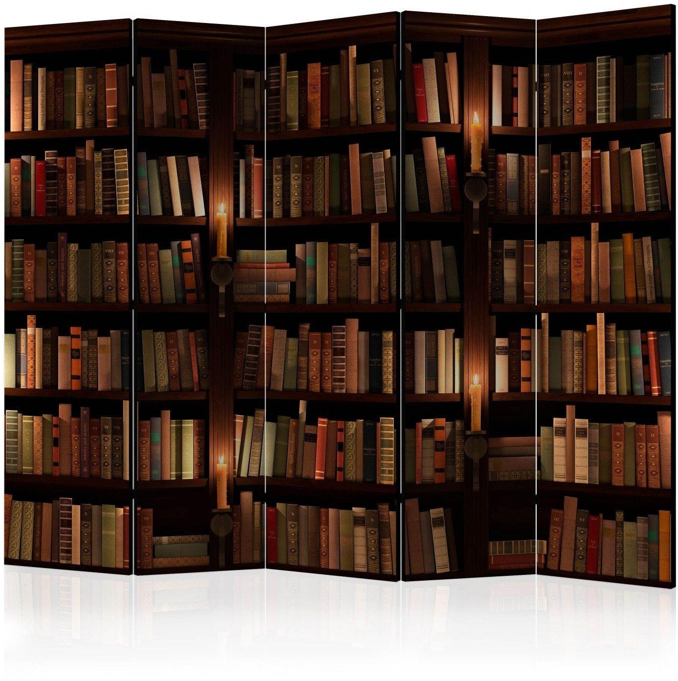 Parawan 5-częściowy - półki z książkami ii [room dividers]