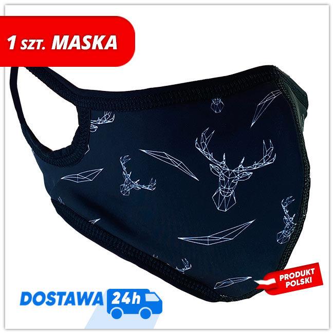 Maseczka MASKK Black Deer Wielorazowa