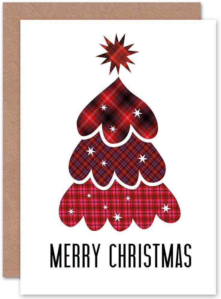 Wee Blue Coo Boże Narodzenie Boże Narodzenie TARTAN drzewo gwiazda nowa sztuka pozdrowienia kartka podarunkowa