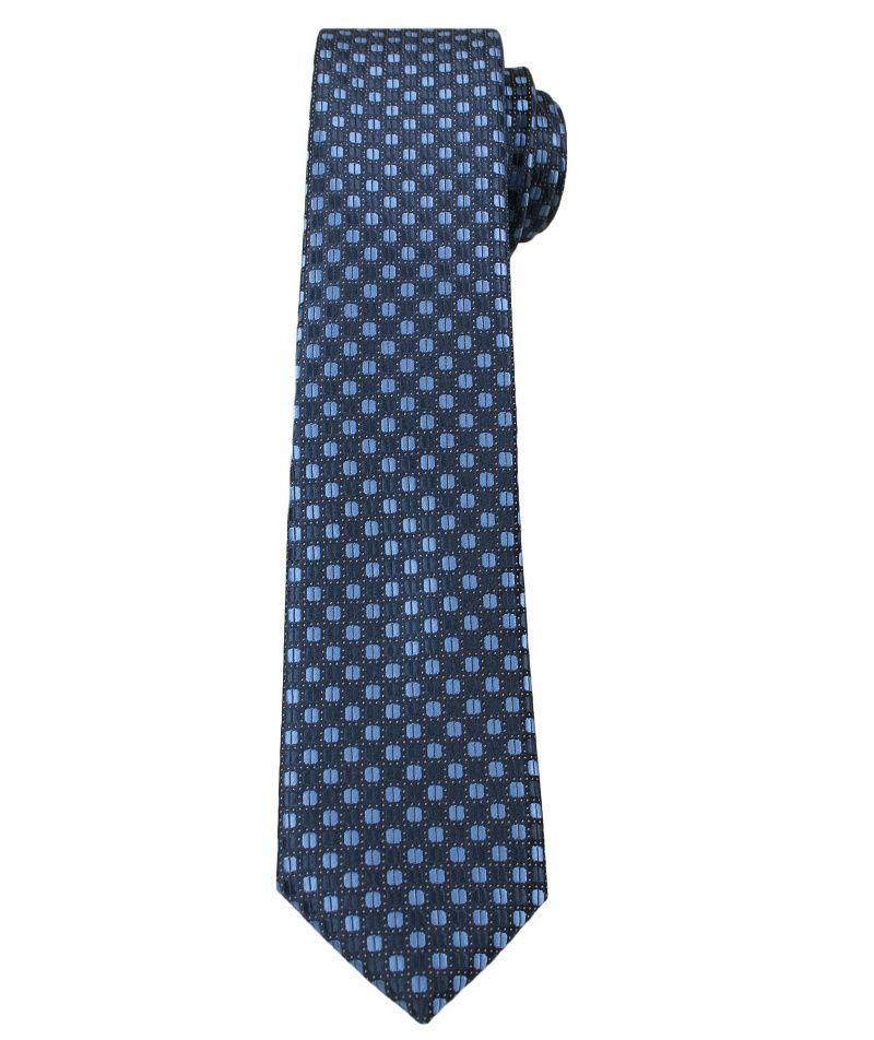 Granatowy Elegancki Krawat w Niebieskie Grochy -ALTIES- 6 cm, Męski KRALTS0264