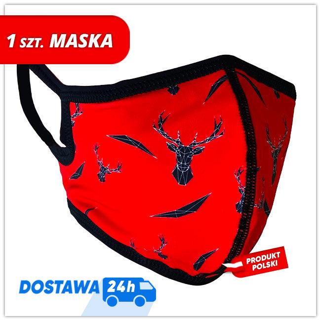Maseczka MASKK Red Deer Wielorazowa