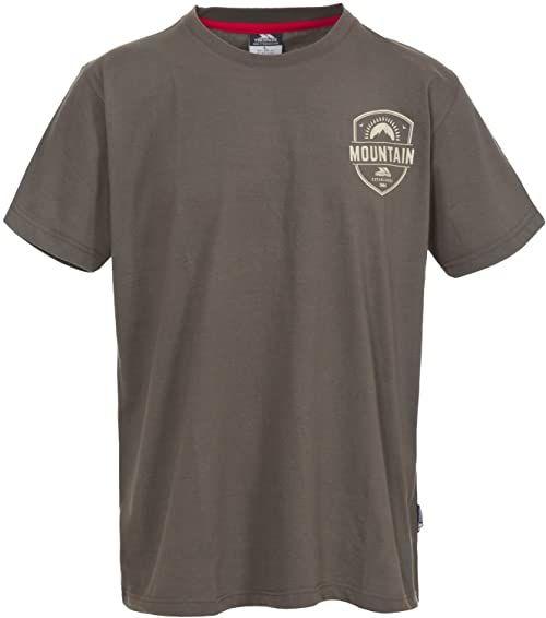 Trespass męska koszulka z krótkim rękawem z nadrukiem na klatce piersiowej Khaki XS
