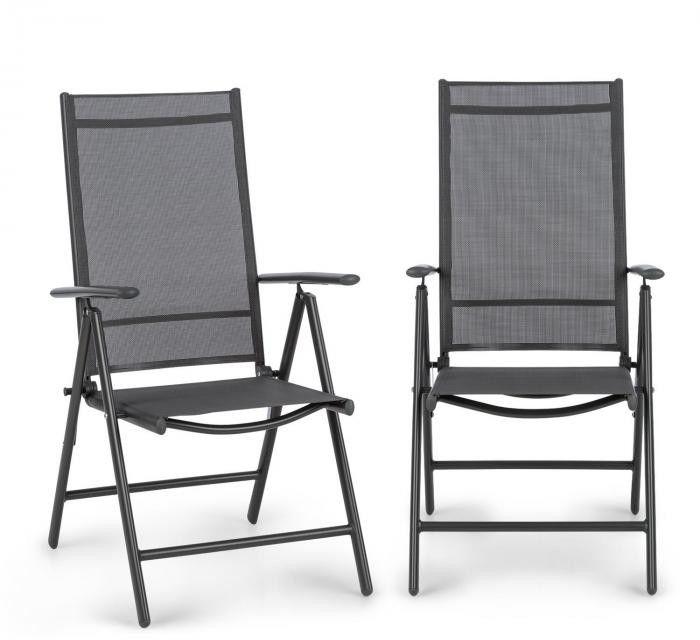 Blumfeldt Almeria, krzesło składane, zestaw 2 sztuk, 56,5 x 107 x 68 cm, ComfortMesh, antracytowe