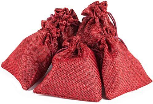 pajoma Kalendarz adwentowy do napełniania, 24 woreczki z juty, czerwone woreczki prezentowe, woreczki materiałowe, Boże Narodzenie, kalendarz bożonarodzeniowy, zestaw do majsterkowania