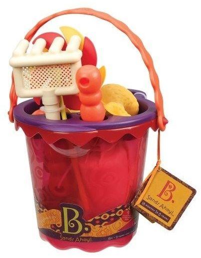 B.toys wiaderko średnie z akcesoriami do piasku - czerwone