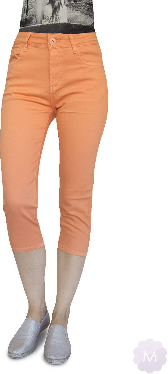 Łososiowe elastyczne spodenki 3/4 jeansowe z wysokim stanem firmy Goodies (VF809-Ł)