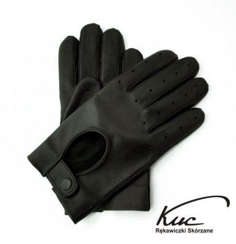 Rękawiczki skórzane samochodowe, bez otworów na kostkach