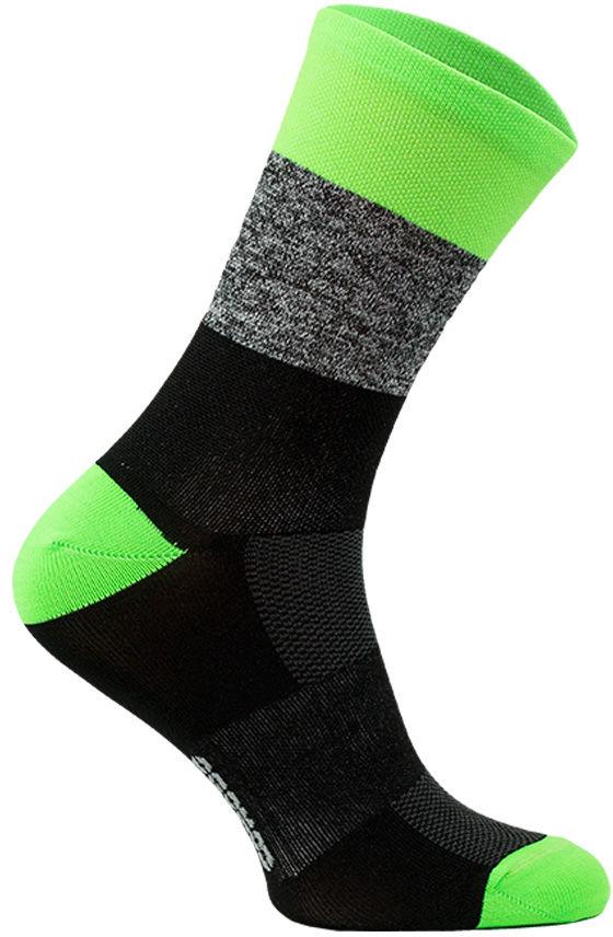 Skarpety termoaktywne KOLARSKIE, neonowe, wysokie: czarno-zielone