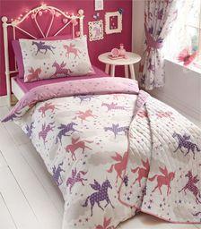 Kidz Club Divine Jednorożec Poszwa na kołdrę i poszewka na poduszkę Zestaw łóżek dla dziewcząt, dwustronny wzór - różowy/biały, poliester - bawełna, pojedyncza