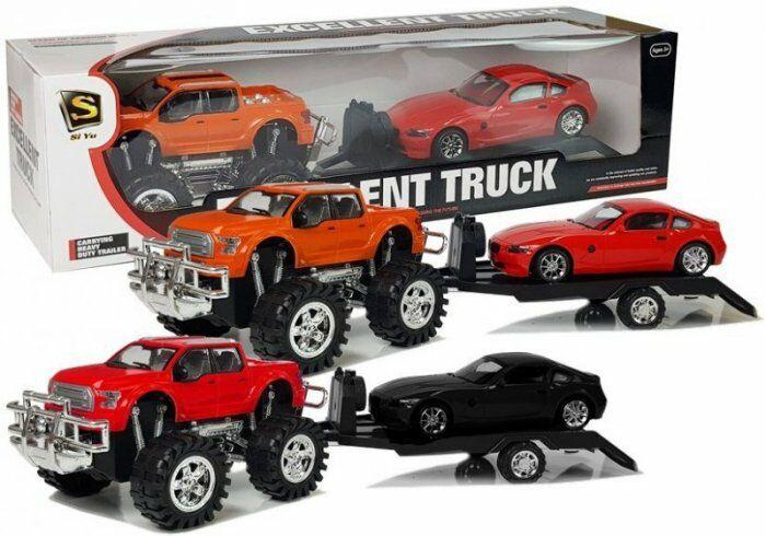 Zestaw Pojazdów Monster Truck Pomarańczowy Laweta 58 cm