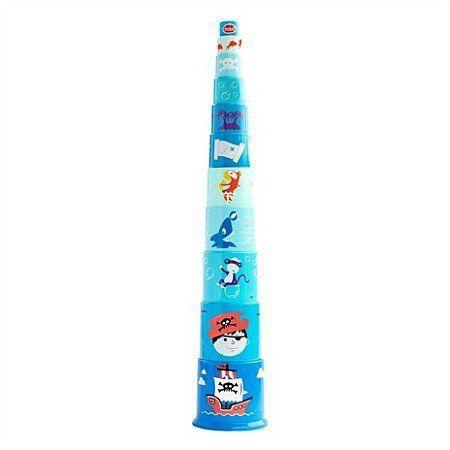 """Piramida z niebieskich wiaderek """"Pirat"""", GW45338-Gowi, zabawy w piratów, zabawki dla najmłodszych"""