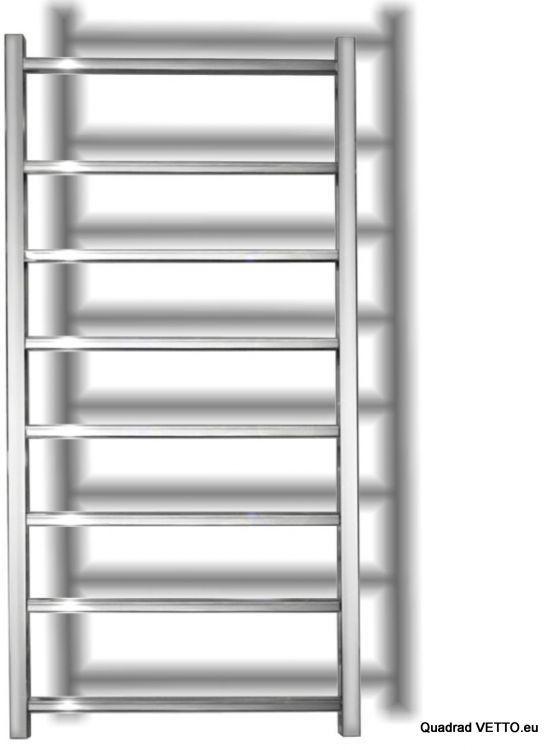 QUADRAD 60x120cm, 300W,. Kubiczny grzejnik łazienkowy satyna-inox, woda/230V, 10 lat gwarancji
