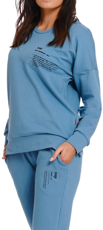 Bawełniana bluza damska Dn-nightwear DRS.4216 niebieska