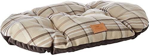 Wyściełana poduszka dla psów i kotów SCOTT 55/4, dwustronna, szkocki wzór, miękki aksamit, nadaje się do prania, brązowa
