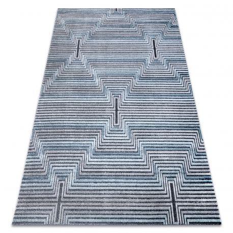 Dywan Strukturalny SIERRA G5018 Płasko tkany, dwa poziomy runa niebieski - paski, romby 80x150 cm