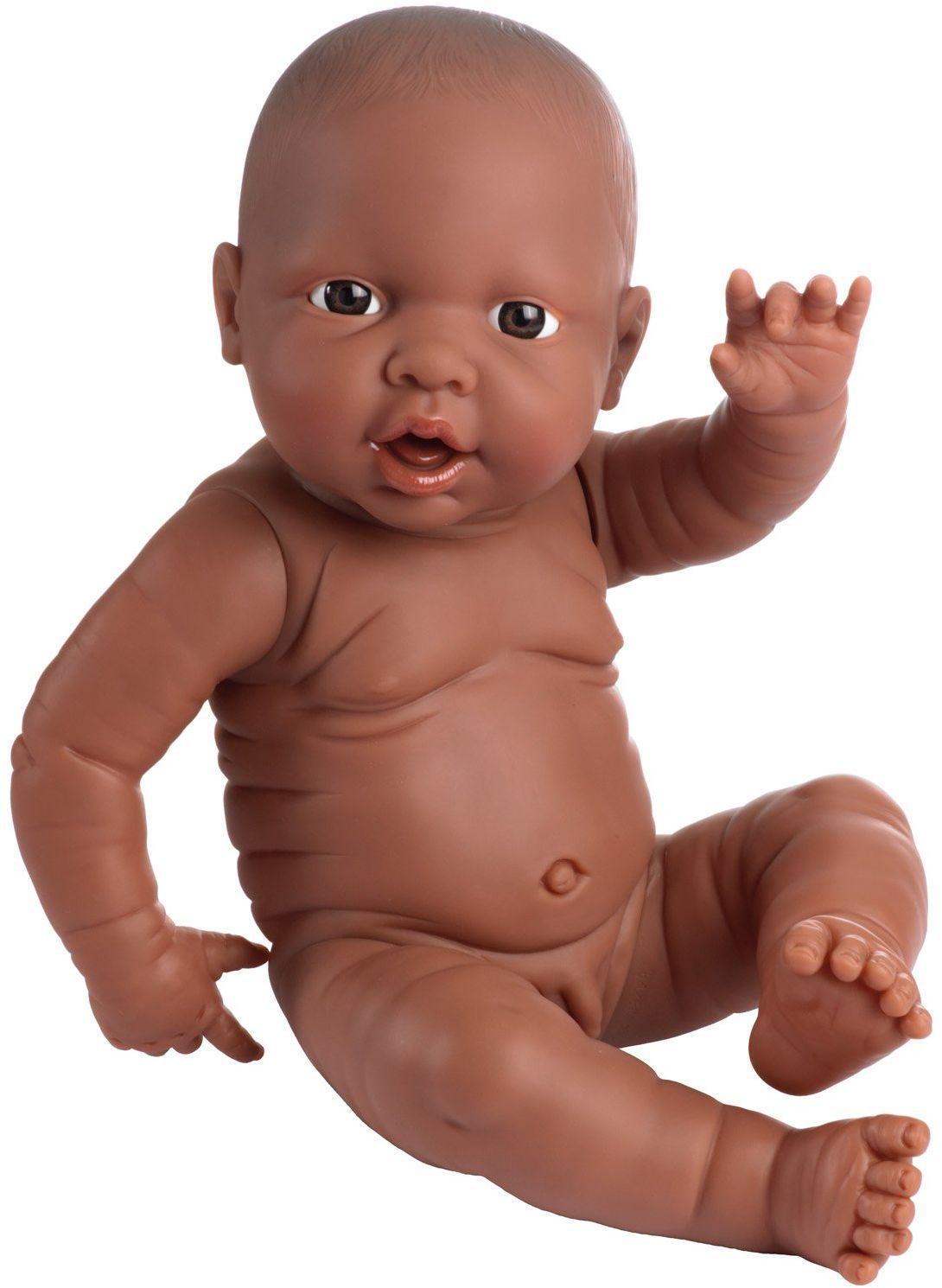 Bayer Design 94200AB lalka dla noworodków, chłopca, realistyczna, 42 cm, ciemna skóra