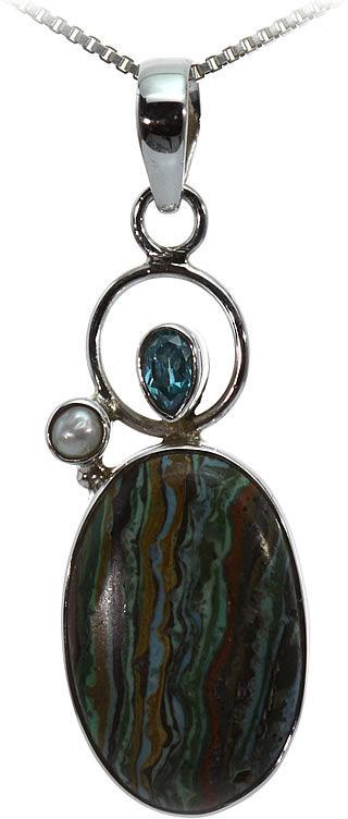 Kuźnia Srebra - Zawieszka srebrna, 42mm, Kamień Tęczowy Calsilica, 3g, model