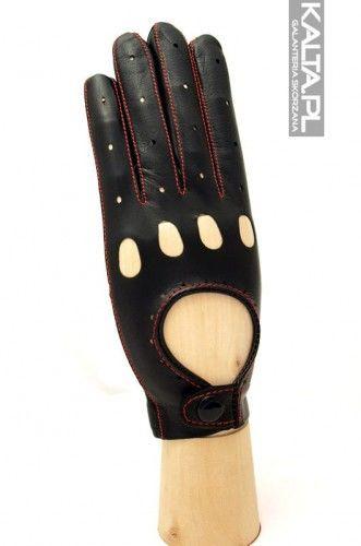 Damskie rękawiczki samochodowe - rękawiczki całuski - szyte kolorową nitką