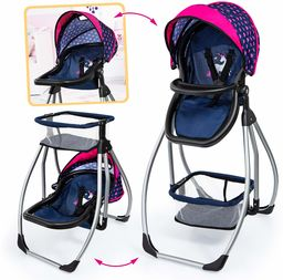 Bayer Design 63554AA akcesoria Trio 3 w 1, wózek dla lalek, huśtawka, łóżko, nosidełko, meble, nowoczesny, niebieski z jednorożcem i sercami