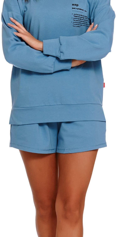 Bawełniane spodenki damskie Dn-nightwear SHO.4215 niebieskie
