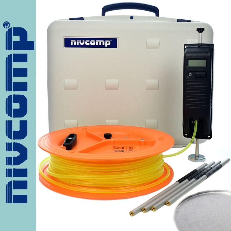 Poziomnica wężowa elektroniczna z tyczkami i lustrem H-25-PRO Nivcomp