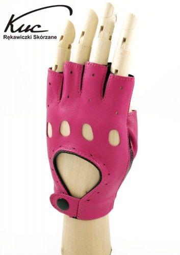 Rękawiczki całuski bez palców, rowerowe - Marlenki - czarno-różowe