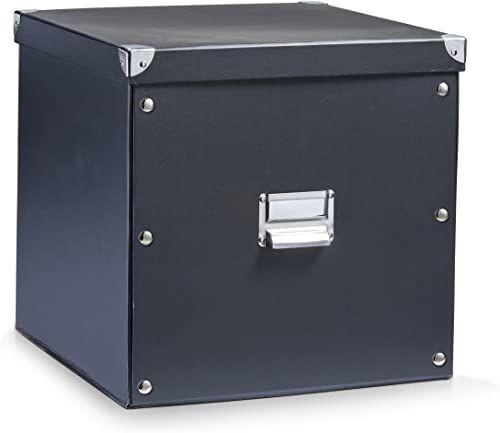 Zeller 17635 pudełko do przechowywania, tekturowe / 33,5 x 33 x 32, czarne