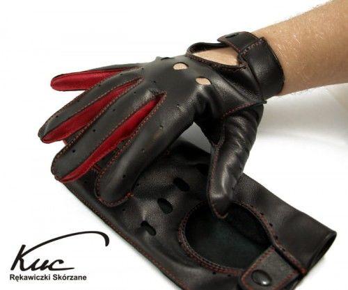 Męskie rękawiczki samochodowe, skórzane - czerwone wstawki
