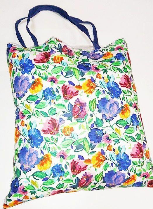 Torba bawełniana na zakupy 37x38 1367E łąka kwiaty kolorowe