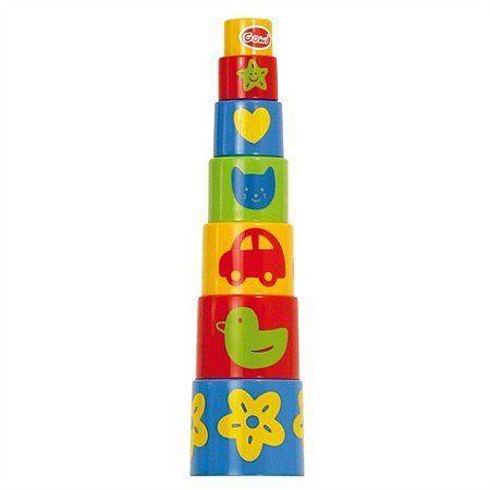 Mała piramida z kolorowych wiaderek, GW45307-Gowi, zabawki dla najmłodszych