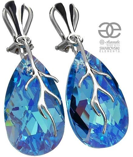 Kryształy ozdobne niebieskie KLIPSY SREBRO AQUA