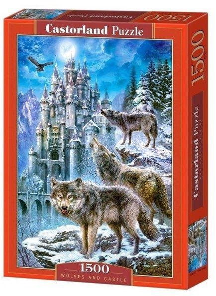 Puzzle 1500 Wilki i zamek CASTOR - Castorland