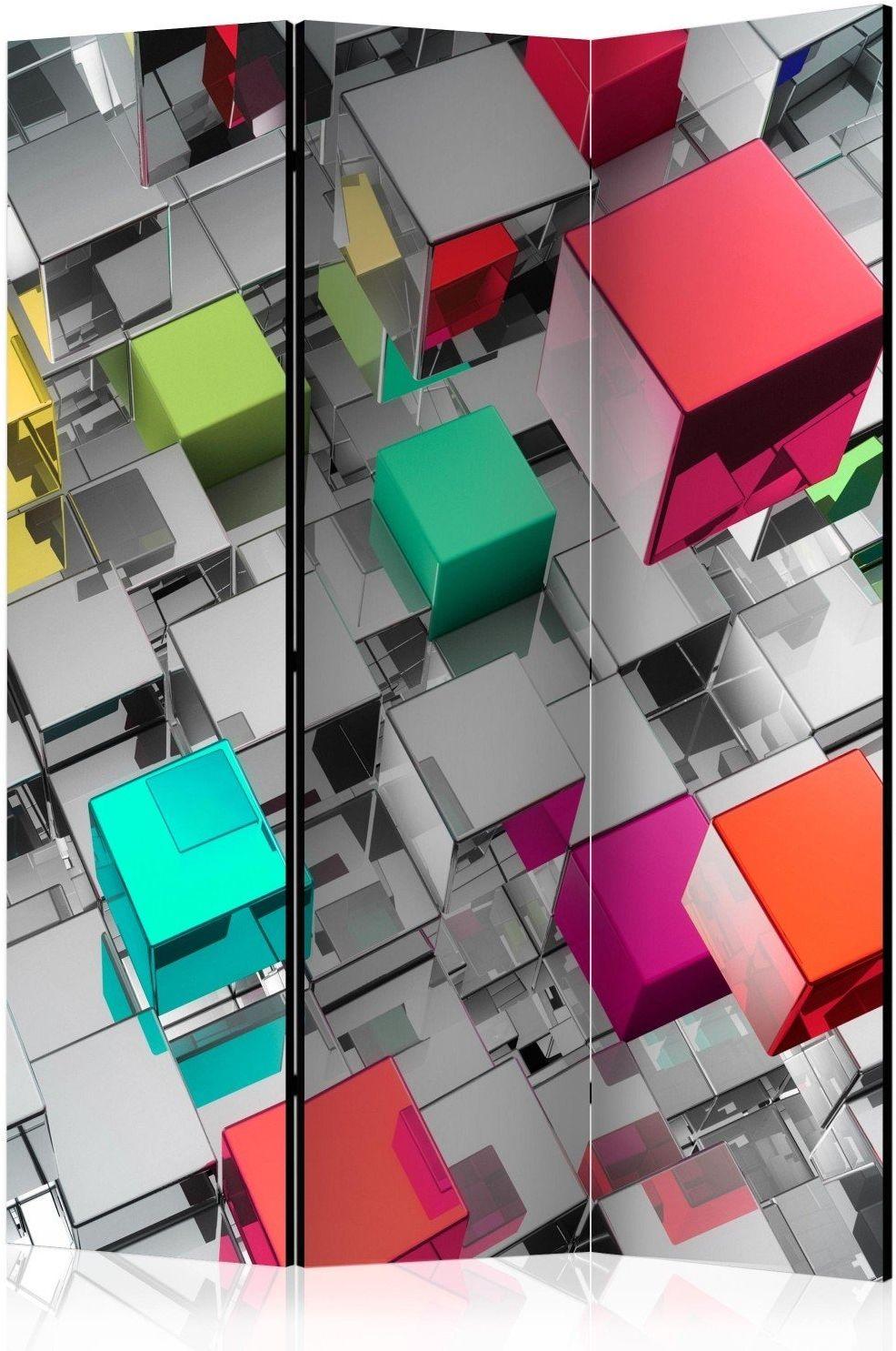 Parawan 3-częściowy - kolory metalu [room dividers]