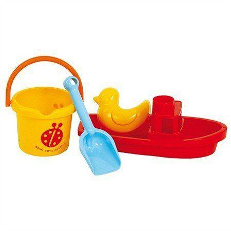 Wiaderko, łódź, biedronka - zestaw do zabawy w wodzie, GW55832-Gowi, zabawki do kąpieli, zabawki do piaskownicy